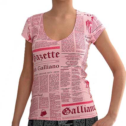 "John Galliano Women's clothing ""GAZETTE T-SHIRT"", Code:  814G 3330"